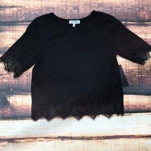 Tops - << Black Lace Trim Shirt Lacey Top >>